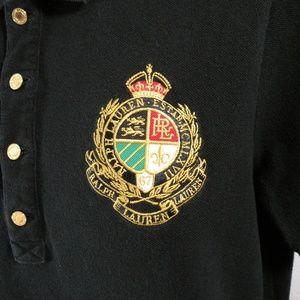 Lauren Ralph Lauren Black Short Sleeve Polo, Crest